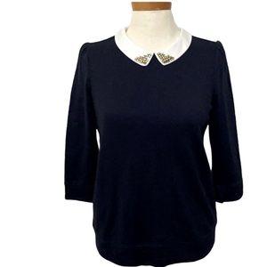 Loft jeweled collar sweatshirt style sweater navy